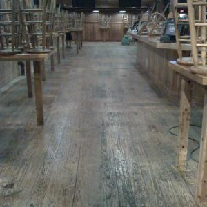 Commercial wood floor service in San Diego. Solid Pine Flooring refinished  SD