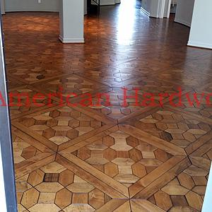 Walnut Parquet flooring refinished in Carlsbad. Licensed flooring contractor SD