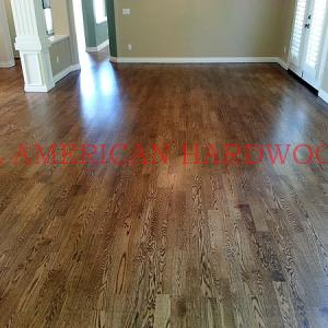 Custom staining of engineered wood flooring in San Diego. Licensed contractor