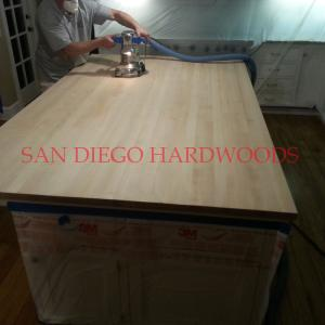 Refinish Butcher block in kitchen. Table refinishing San Diego. Dust free pros