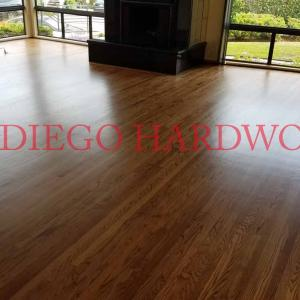 Full sanding and refinishing of oak flooring in La Jolla Shores