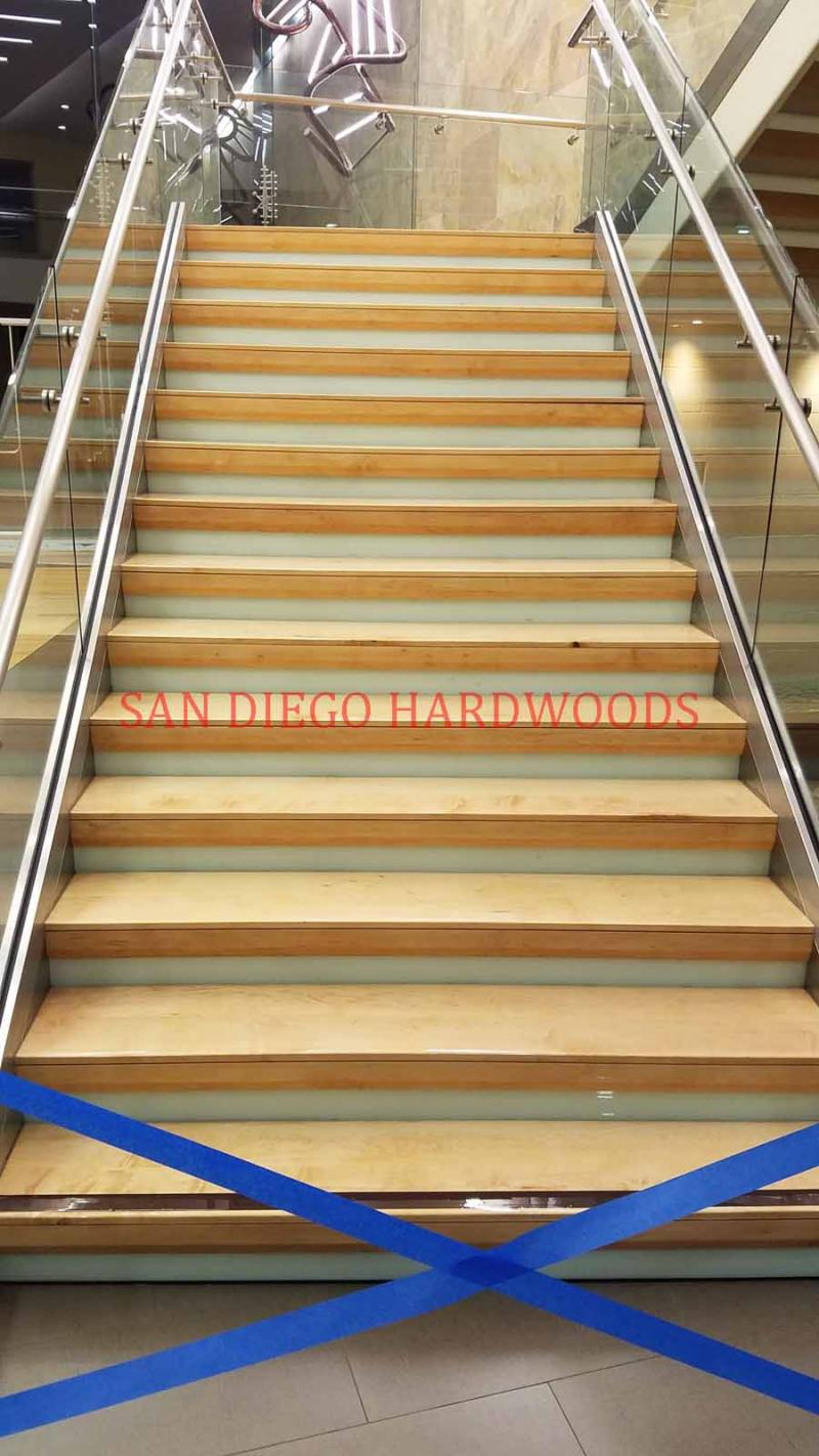 MAPLE STAIR TREAD REFINISHING COMMERCIAL OFFICE NORTH COUNTY SAN DIEGO CA