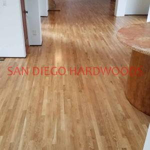 Mission Hills white oak hardwood floor refinishing. San Diego Restore wood floor