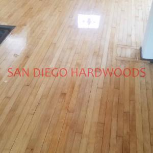 After complete sanding and finishing of solid Beech Hardwood Flooring san diego