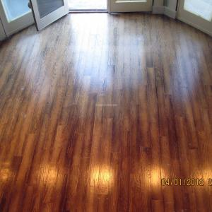 Hickory flooring refinished and stained in Rancho Sante Fe. Licensed contractor